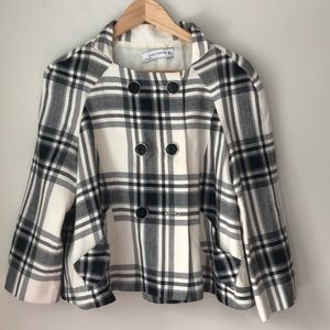 Zara Black Plaid Swing Coat